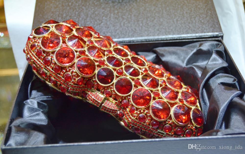 Nuevo diseño de bolso de embrague rojo de lujo de cristal bolsa de noche del partido de las mujeres monedero nupcial día de la boda embragues soiree pochette