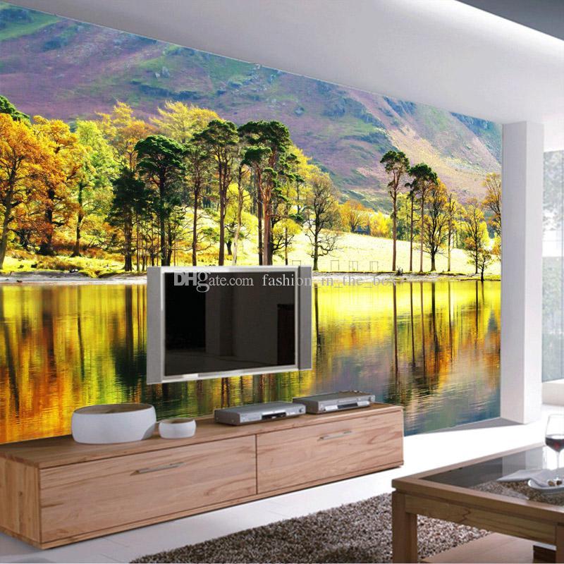 Grosshandel Wald Fluss Fototapete 3d Baume Wallpaper