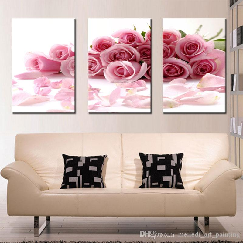 Three Panle Modern Wall Painting Pink Rose Canvas Wall Art Picture Home Decor Beautiful Flowers Create Romantic for Bedroom Hot Sale
