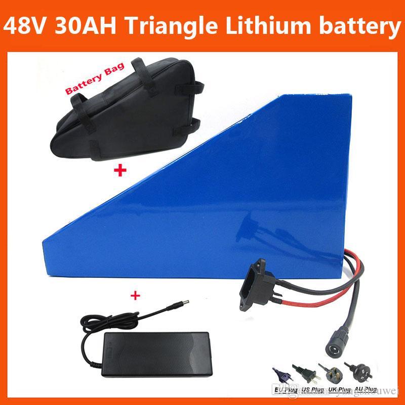 무료 가방 30A BMS 54.6V 2A 충전기 48V 29AH 1000W 전기 자전거 삼각형 배터리 48V을 30ah 리튬 이온 배터리를 사용 2900mah의 29E 셀