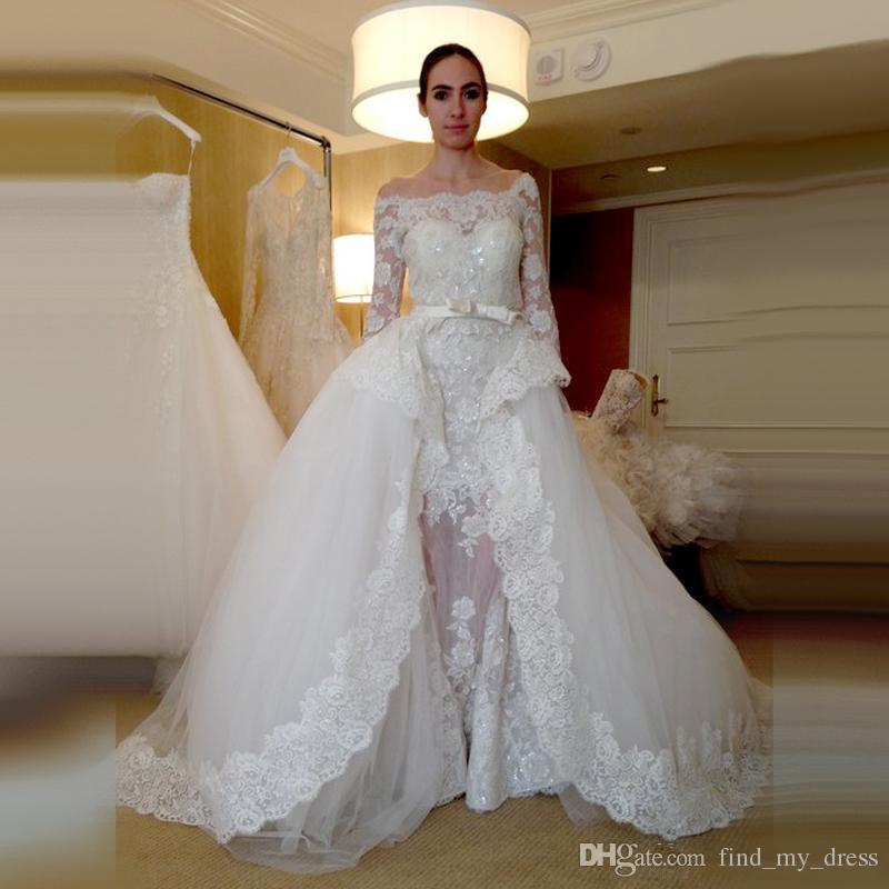 Discount New Luxury Design Detachable Train Wedding Dress