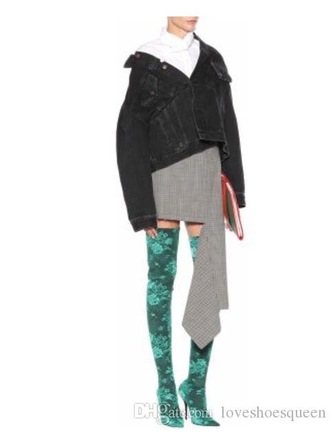 Moda 2017 sexy Strech Suede Over-The-Knee Boot Fall Winter Ladies Shoes Celebrity del talón delgado bordado de la flor Muslo Botas altas punta del dedo del pie