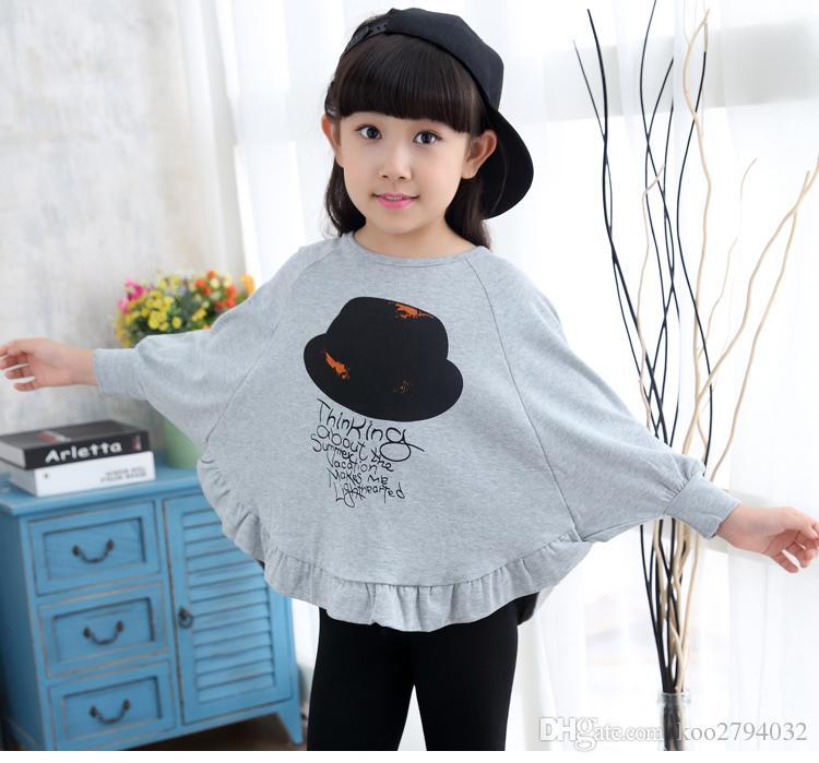2016 Nueva Llegada Niños Ropa Niños Tops Tops Camisetas Camisetas de Calidad superior Ropa linda Bebé Impreso Flor Moda Venta caliente