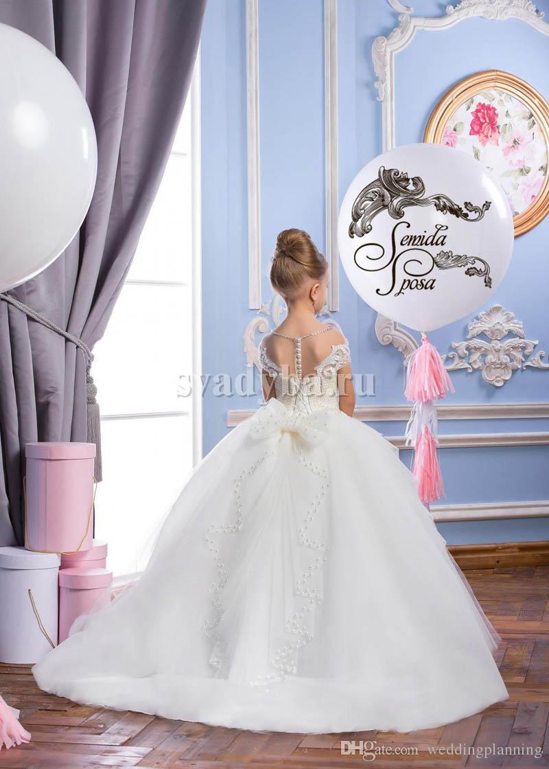 Neueste Spitze Sheer Hals Tüll Arabisch Stil Blumenmädchenkleider Vintage Mädchen Tutu Pageant Kleider Formale Blumenmädchen Kleider für Hochzeit