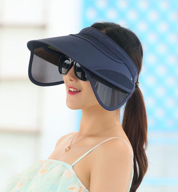 Compre Al Por Mayor 2017 Nueva Visor Retráctil Mujer Verano Sol Vacío  Sombrero De Copa Riding Deportes Al Aire Libre Cap UV Sun Hat Mujer Beach  Hat Gorra De ... f6d99aedc82