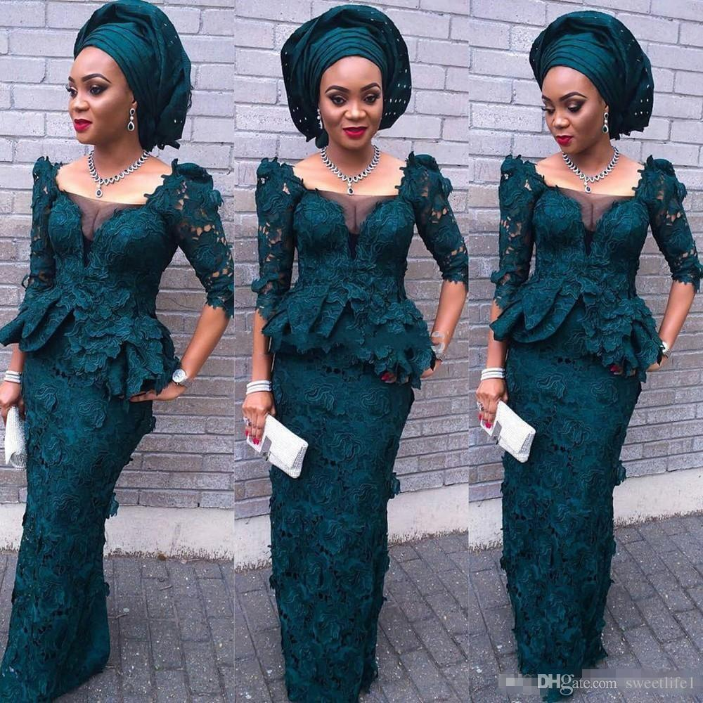 2016 Fashion Green Evening Dress Square Neck Sheath Sexy Prom Dresses Newest Designs African Style Half Sleeve Lace Evening Gowns