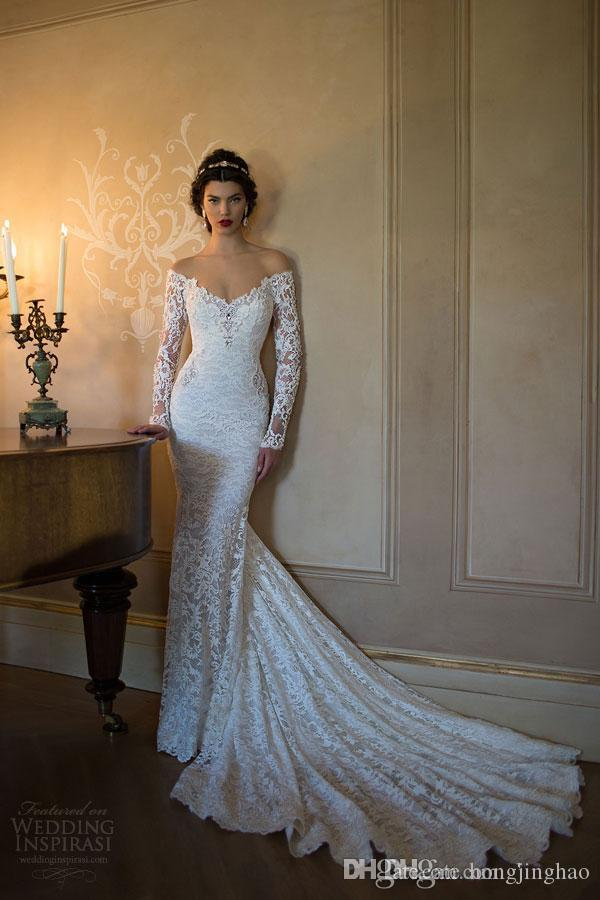 Vintage 2019 lace mermaid wedding dresses off shoulder long sleeve applique chapel train open back bridal party gowns