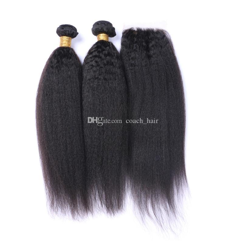 Brazilian Kinky Straight Hair 3 Bundles With Silk Base Closure Italian Coarse Yaki Brazilian Hair With Silk Base Closure