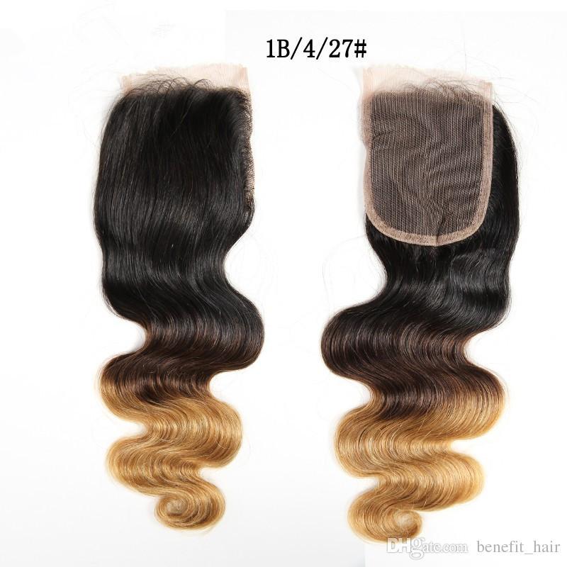 Malaysische Haarkörperwelle Ombre 3 Bundles Mit Verschluss 1B 4 27 # Honigblonde Bundles Wet And Wavy Weave With Closure