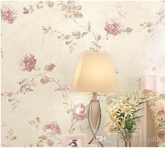 Rustic Rose Romantic Non Woven Flower Wall Paper Floral Wallpaper - Girls flower bedroom wallpaper