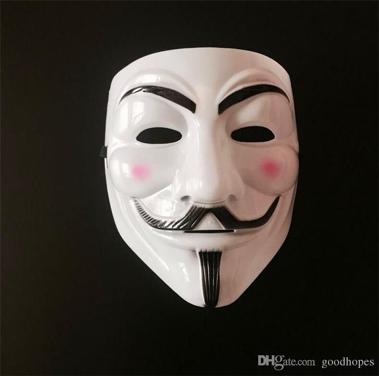 V para VENDETTA Máscara de Cosplay de Halloween Traje Guy Fawkes Máscara Anónimo Máscara de fiesta súper temible para mujeres y hombres