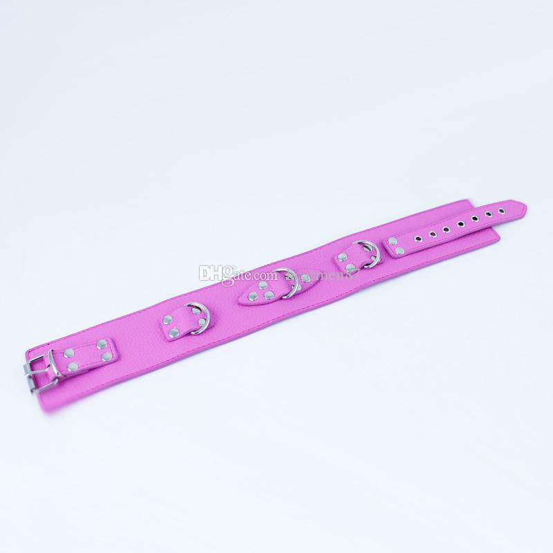 Pink PU Leather Sex Toys Slave Collar Bondage Restraint Dog Slave Adult Game Neck Ring BDSM Sex Products For Women