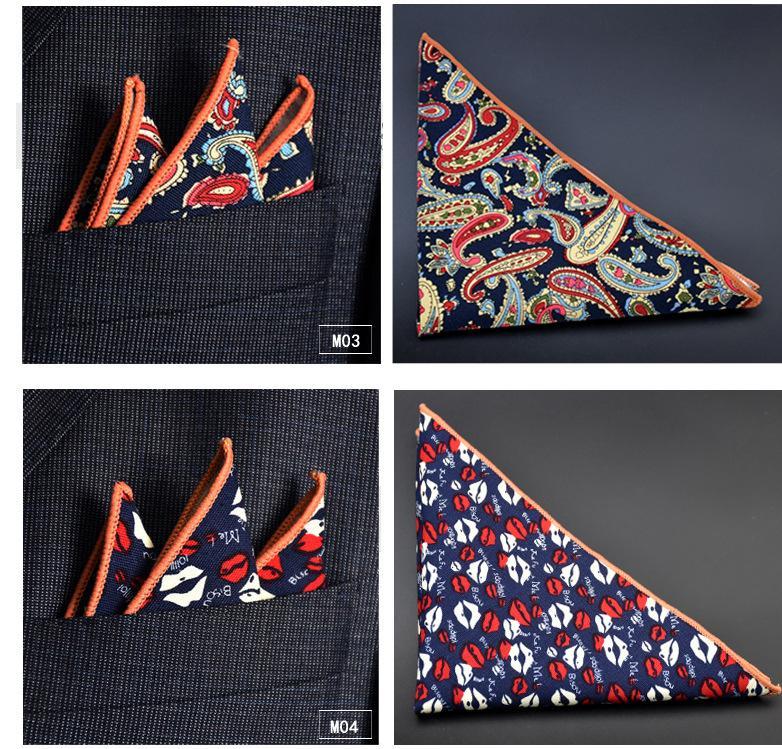Algodão Hankerchief 30 cores de impressão Bolso quadrado Guardanapo kerchief mocket noserag dos homens Para Festa de Casamento Cocktail Party Livre Alimentado