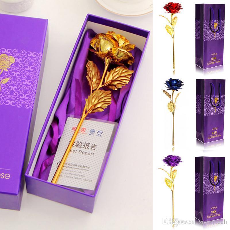 Cadeaux De Saint Valentin 24K Feuille D'or Rose Fleur Handcrafted À La Main Immergé À Long Tige Amoureux De Mariage Pour Amoureux Cadeau LZ0046