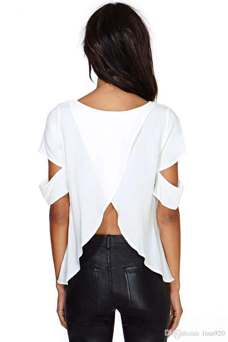 Europe fashion sexy short sleeve chiffon back open fork blouses plus size spring summer autumn women black white split t shirts tops coat