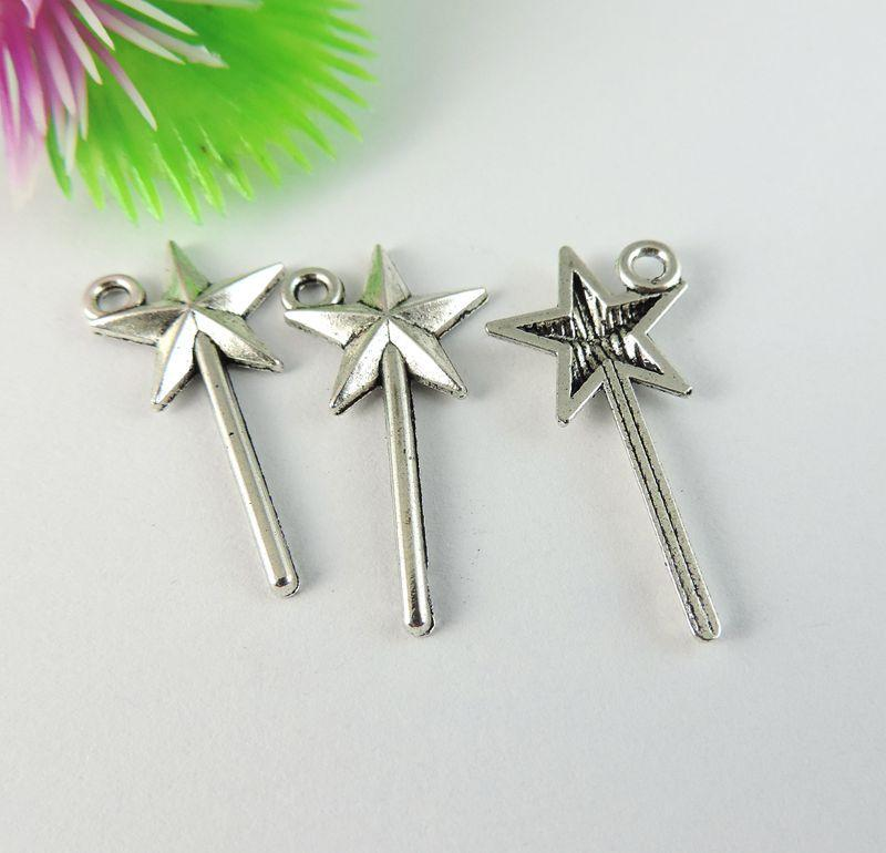 60 pcs Antique Silver Star Wand Pingente Charme Jewellry Finding 25 * 12 * 2mm 39104 fazer jóias