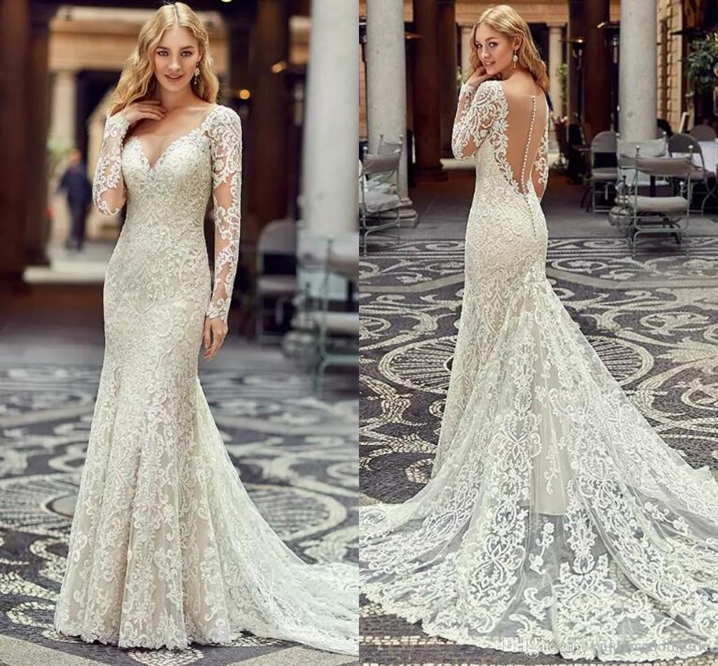 624f7051535 Ivory Elegant Sheer Long Sleeves Mermaid Wedding Dresses 2017 Full Lace  Illusion Back Bridal Gowns Vestido De Noiva Mariage Custom Made Unique Wedding  Gowns ...