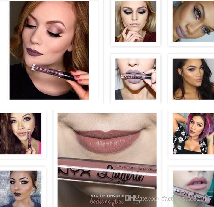 Marca NYX lingerie líquido matte Batom à prova d 'água nude lip gloss maquiagem cosméticos partido presente 12 cores dropshipping Em Estoque