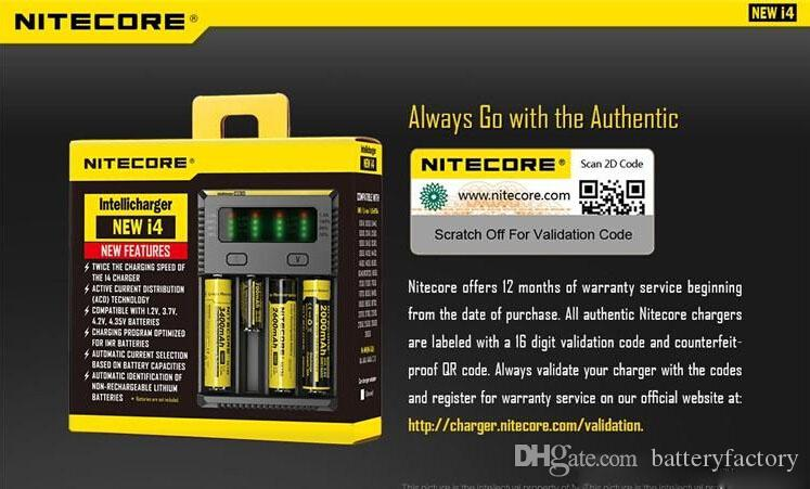 2016 100% Original NEW NITECORE i4 Carregador Intellicharger Para Li-ion Ni-MH 18650 14500 vs Nitecore I2 I4 UM10 UM20 Carregador