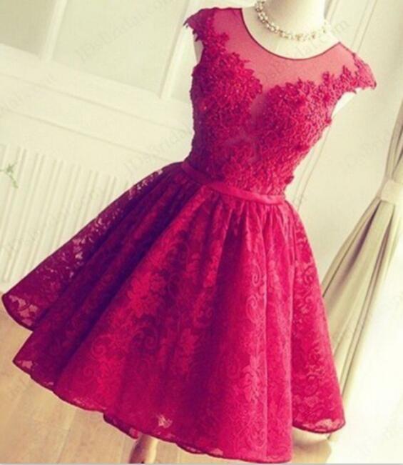 Compre 2016 Vestidos De Baile De Encaje Rojo Corto Mini Falda De Cuello Puro Apliques De Tul Graduación Fiesta Vestidos De Fiesta Vestidos De Fiesta