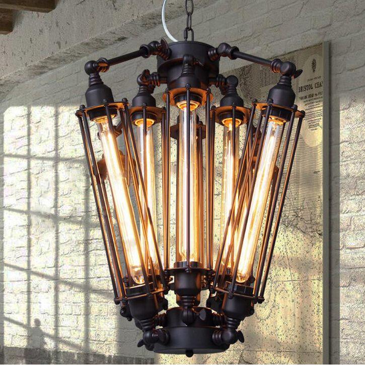 Vintage Pendant Lights E27 Industrial Retro Edison Lamps: Edison Vintage Pendant Lamp Loft Wrought Iron Chandeliers