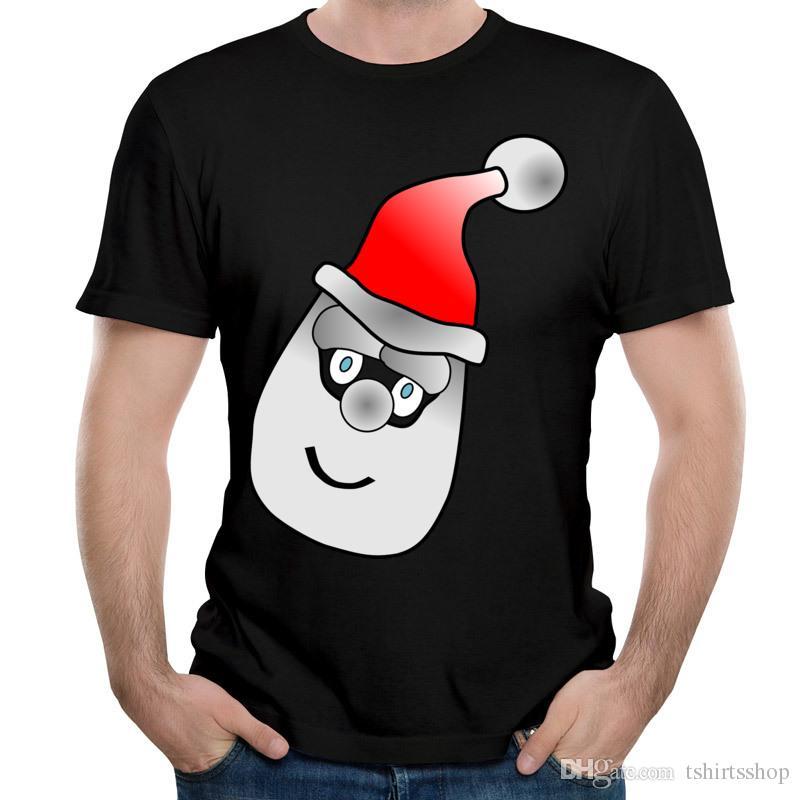 Latest Autumn Winter Unique Design T-shirts Santa Claus Head Printed Tees 2017 Newest Christmas Tee Shirts