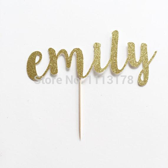 Wholesale-Custom Name Glitter Cake Topper for Birthday, Anniversary and Special Event Cupcake toppers wedding Engagement