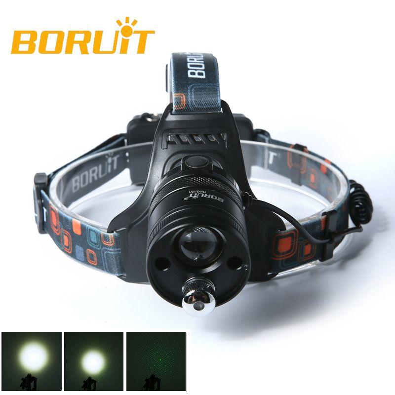 BORUIT Toshiba leitesi white green laser LED convex mirror Headlamp Headlight Head Torch rotating zoom 18650 lithium battery