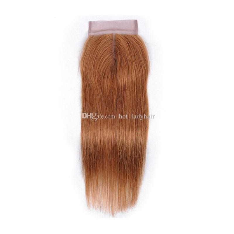 Pure Colored 30 Straight Lace Closure mit Haarbündeln Hellblondes braunes reines peruanisches Haar spinnt mit Top Closure