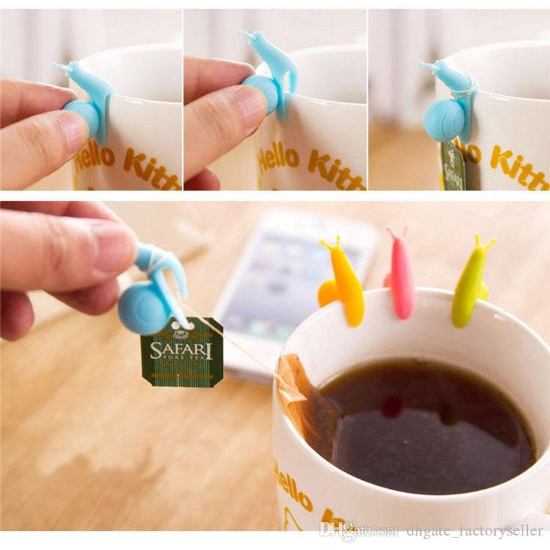 1000 STÜCKE Nette Schnecke Form Silikon Teebeutel Halter Tasse Becher Candy Farben Geschenk Gelegentliche Farbe Freies Verschiffen