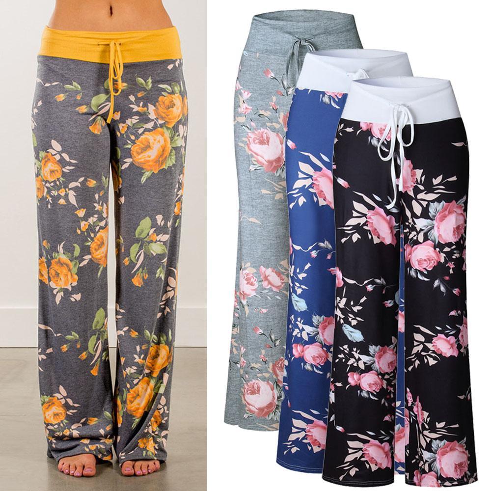 10214f3cd456 S-3XL Women High Waist Casual Floral Flower Print Drawstring Wide ...