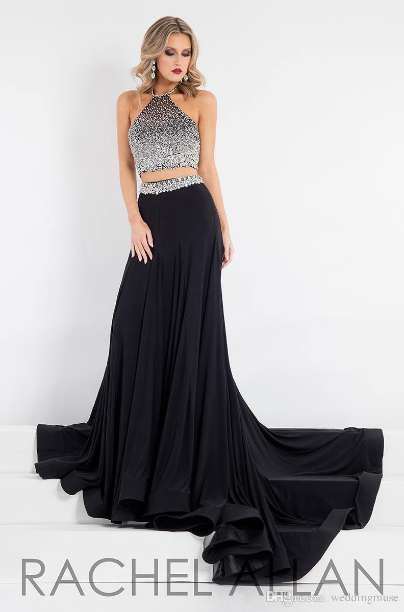 Heta prom klänningar två bitar halter mousserande kristall pärlstav formell cocktail kväll svart klänningar skräddarsydda
