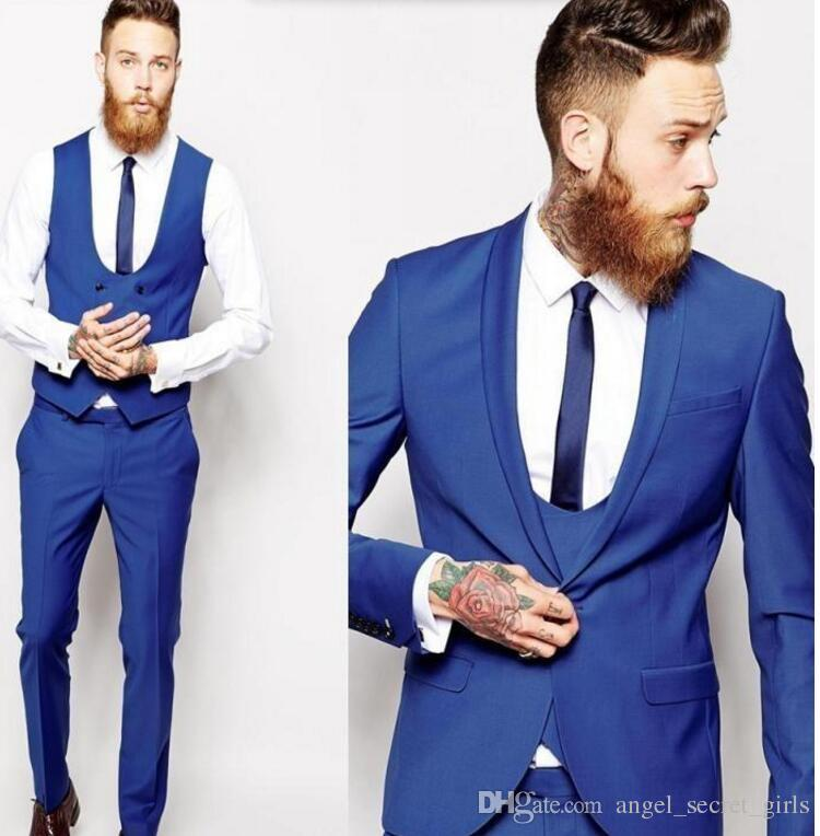 2018 Latest Coat And Pant Design Men Suits Royal Blue Men Classic ...