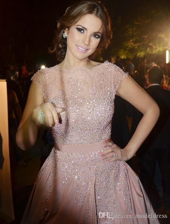 Sparkling Pink Dresses Evening Wear 2017 Sheer Neck Short Sleeve Pears Sweep Train Modest Taffta Prom Party Gowns Cheap Custom Made