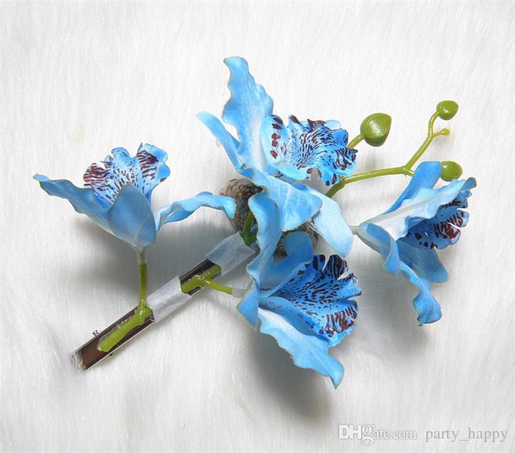 Forcina del fiore del copricapo di torsione della damigella d'onore del copricapo di cerimonia nuziale del partito di promenade del partito di cerimonia nuziale della sposa delle orchidee della farfalla