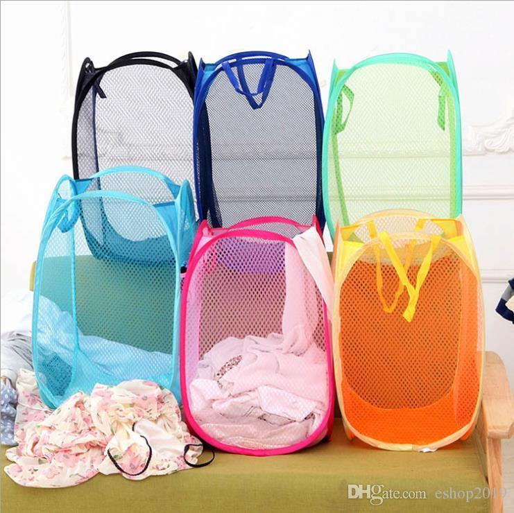 Mesh Fabric Foldable Pop Up Dirty Clothes Washing Laundry Basket Bag Bin Hamper Storage for Home Housekeeping Use Storage Baskets 2017 Style