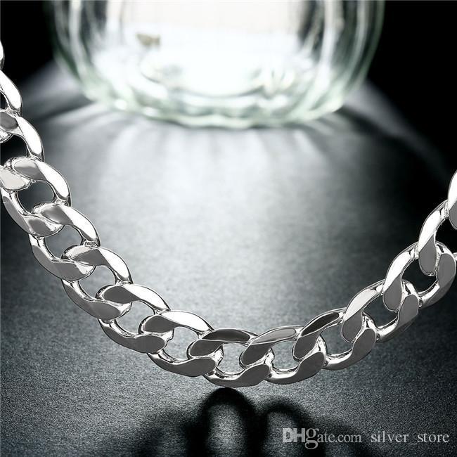 Schwere 66g 12mm flache Seitenwaren Halskette Männer Sterling Silber Halskette STSN202, Großhandel Mode 925 Silber Ketten Halskette Fabrik Direct Sale