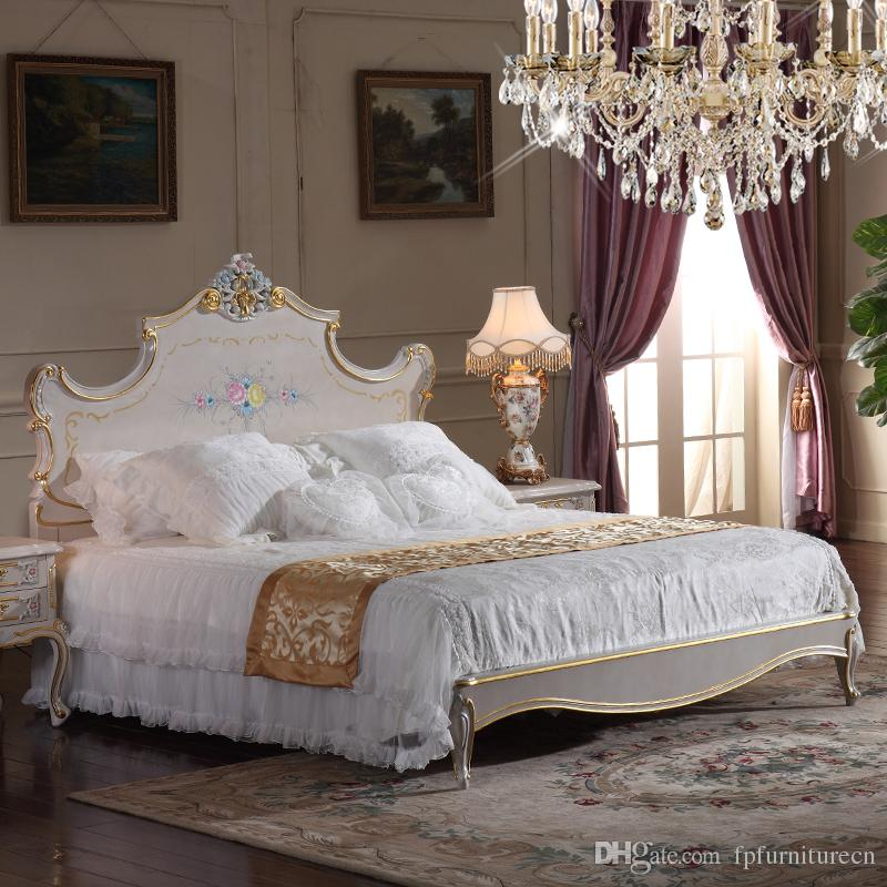 2017 high end classic furniture bedroom baroque style queen bed