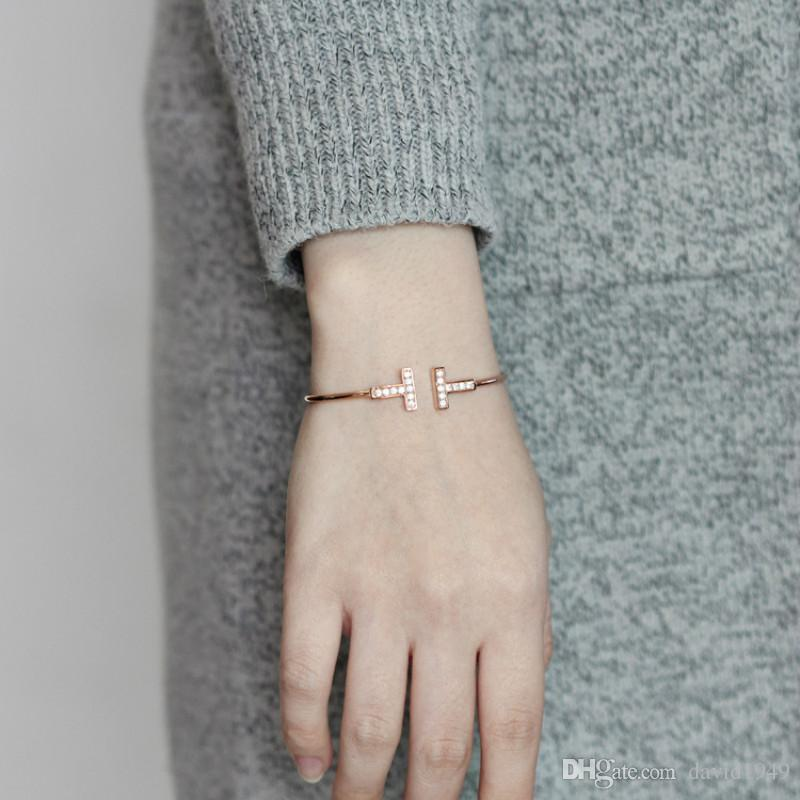 Fashion Bangles for Women Double T Charm Bangles Opening Bangle Gold Silver Rose Gold Alloy Bracelets