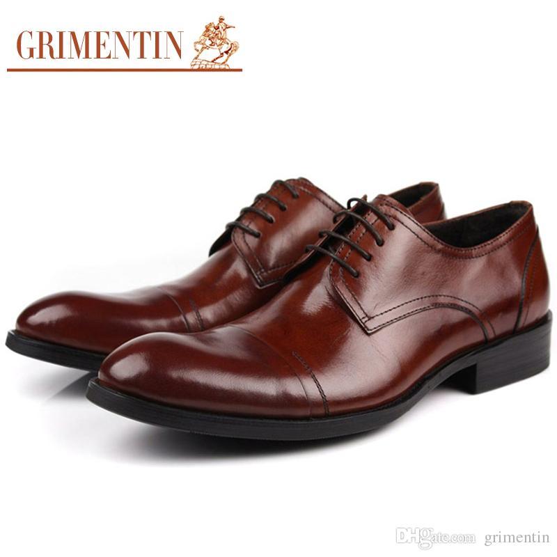 ef233bfd5171c GRIMENTIN Brand Classic Vintage Oxfords Mens Dress Shoes Genuine Leather  Round Toe Italy Designer Fashion Men Shoes Size 38-44 Z676 Mens Dress Shoes  Genuine ...