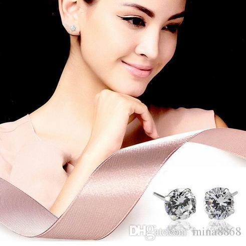 Satış 4mm CZ Elmas 925 Ayar Gümüş Küpe Kadın Erkek Takı Serin Erkekler için Damızlık Küpe Moda Kadınlar 4 Renkler Küpe DHK190