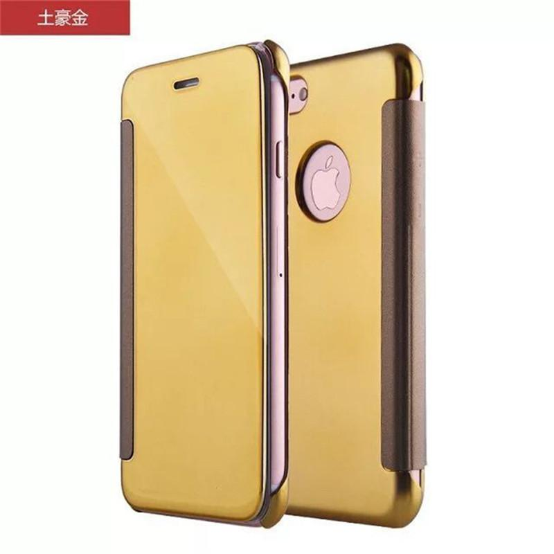 For iphone 7 plated PC mirror wallet case plating flip back+front full covers pouch cases for iphone 6 6s 7 plus up