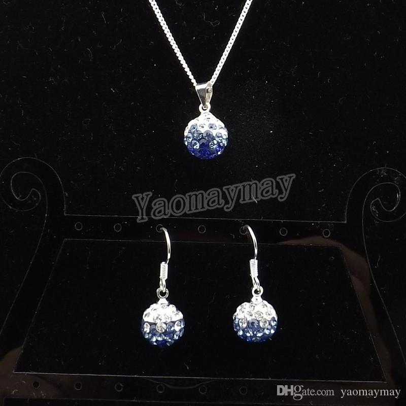 New Arrive Rhinestone Jewellery Set Gradient Blue Disco Ball Pendant Earrings And Necklace For Women Wholesale