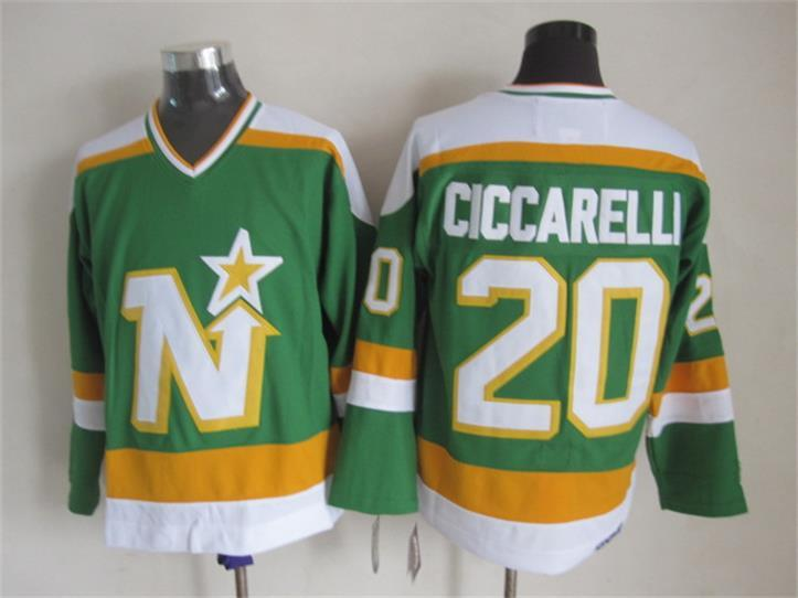 a7ade4462 2017 Dallas Stars Throwback Jersey Mens 20 Dino Ciccarelli Green Ccm  Vintage Ice Hockey Jersey Stitched ...
