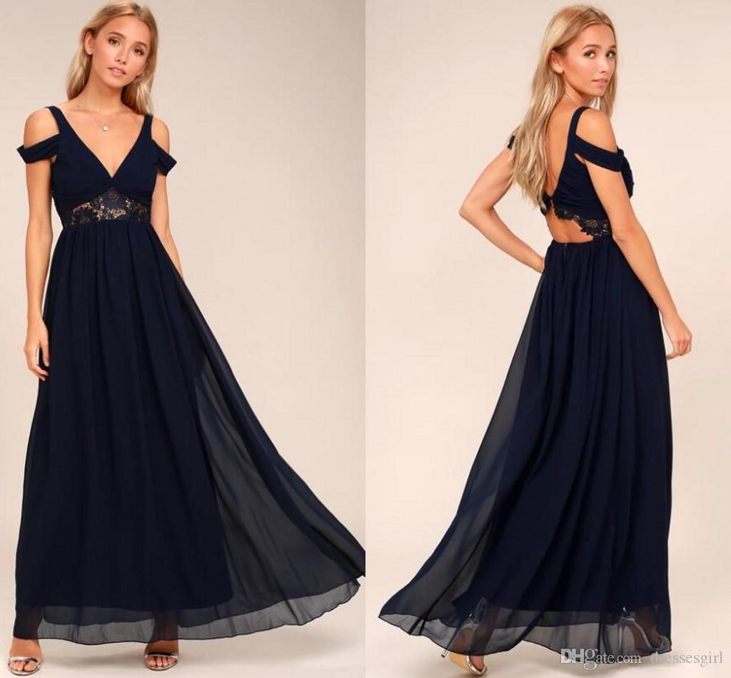 a67413dddd2 2018 New Arrival Chic Beach Bridesmaid Dresses Dark Navy Chiffon A Line Lace  Backless Long Wedding Guest Dresses Prom Gown Jr Bridesmaid Dresses Light  Blue ...