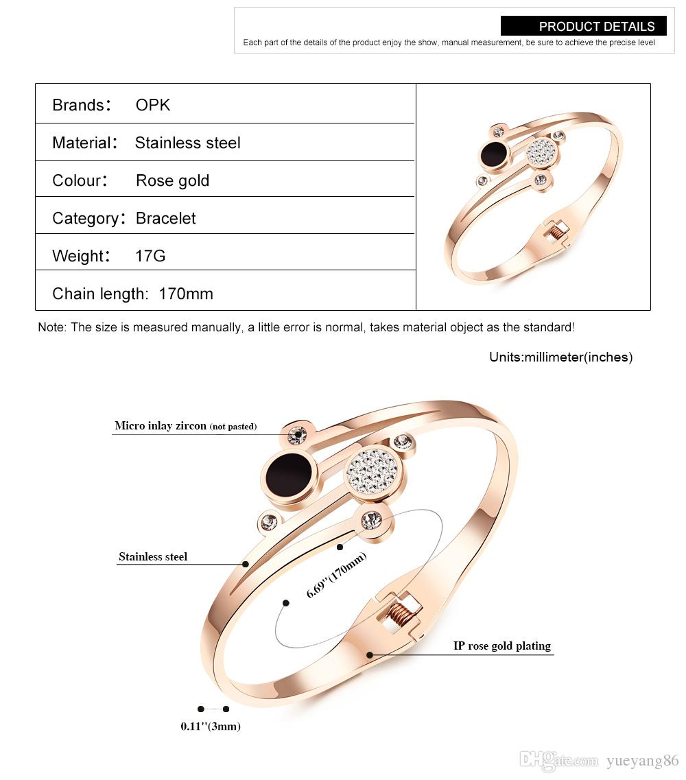 IP Rose Gold Crystal Open Cuff Bangle High Quality 316L Stainless Steel Fashion Bracelet Best Gift For Women Bling