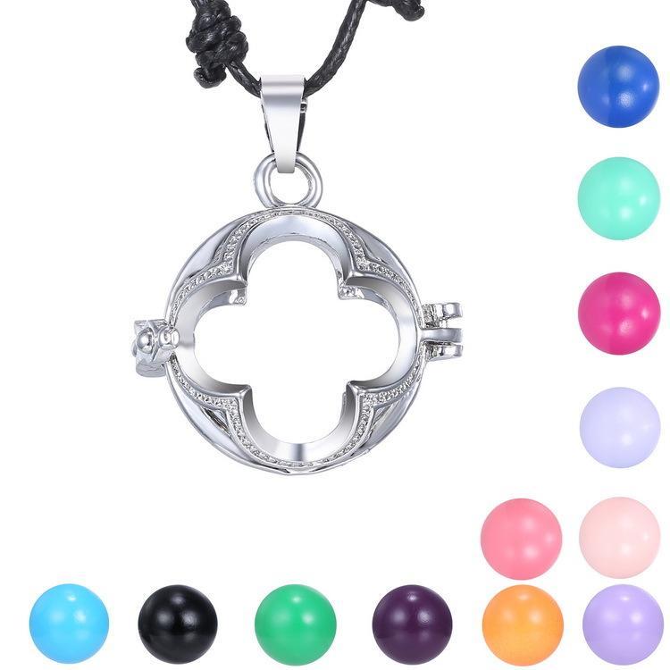 Collar de Bola de mujeres embarazadas Collar colgante Jaula Angel Ball Cobre Bebé Carillón Embarazo cruz Collar 60cm-120cm Collares ajustables