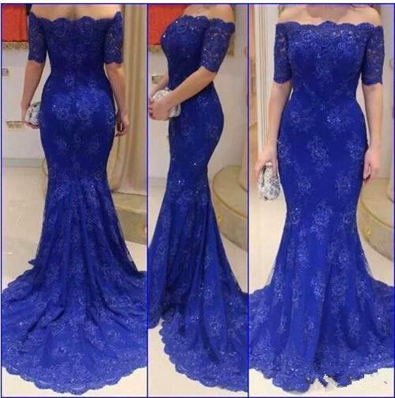 b454ad79296 Vestido De Festa Para Gordinha Sereia Azul Vestidos De Baile Apliques De  Renda Lantejoulas Fora Do Ombro 1 2 Mangas Sereia Bodycon Vestidos De Noite  Com ...