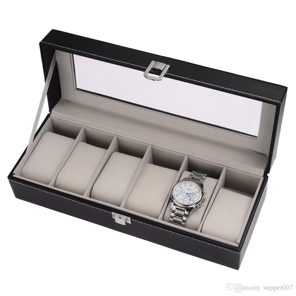 6 Slot Watch Storage Boxes Black Pu Leather Glass Top Jewelry