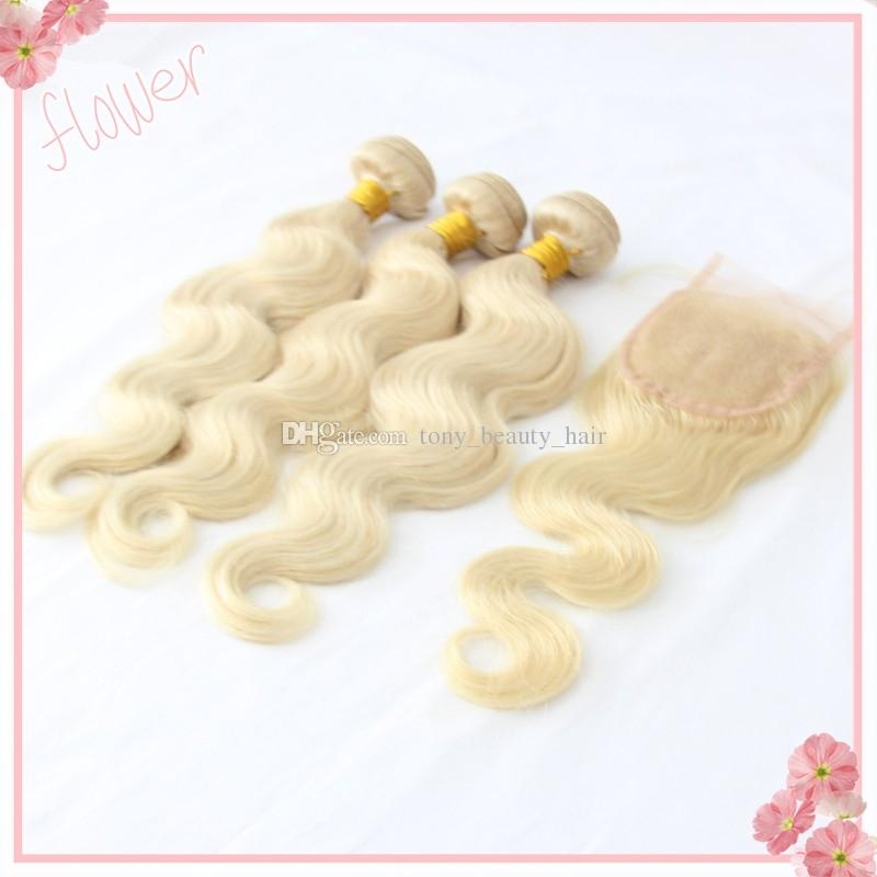 Body Wave Platinum Blonde Virgin Hair with Closure Unprocessed Human Eurasian Blonde Hair with Free Middle 3 Part Closure 613 Bundles Weave